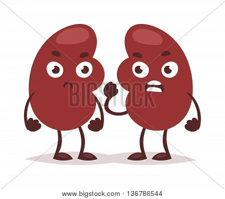 Urinary tract kidney infection anatomy renal vector illustration. Science cancer medicine inflammation kidney infection care painful bladder. Angry ill organ pain kidney infection character.
