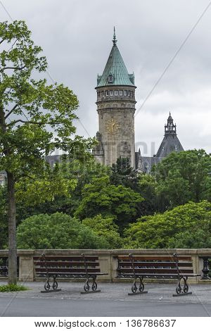 Luxembourg City - Luxembourg - July 01, 2016:  State Saving Bank Building Tower
