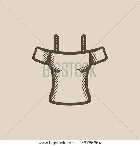 Female shirt vector sketch icon isolated on background. Hand drawn Female shirt icon. Female shirt sketch icon for infographic, website or app.
