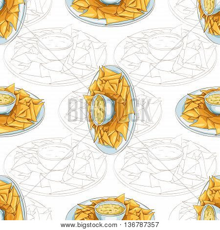 Colorful Mexican food seamless pattern background. Color nachos scetch and color background.