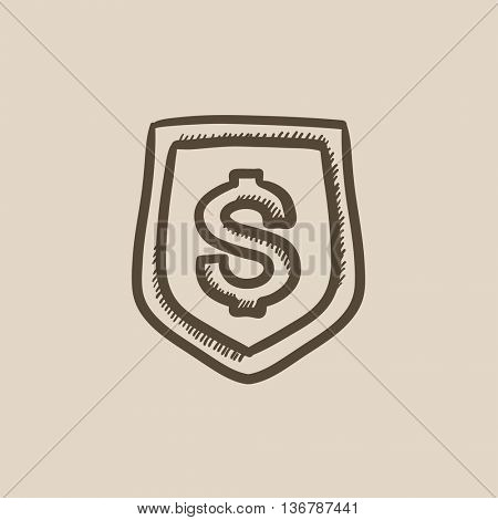 Shield with dollar symbol  vector sketch icon isolated on background. Hand drawn Shield with dollar symbol  icon. Shield with dollar symbol  sketch icon for infographic, website or app.
