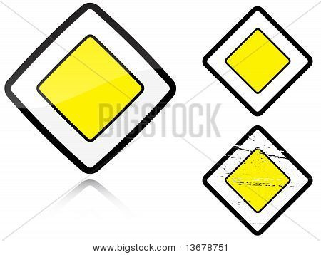 Set Of Variants A Main Road - Road Sign