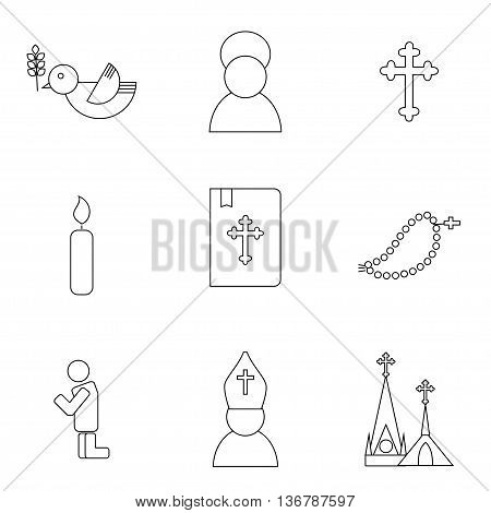 Jesus Christ religion icons set. Christianity pictograms outline style