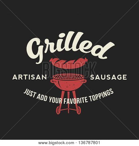 Grilled Artisan Sausage Hot Dog Day Vintage Vector Card, Poster or Label Template with Typography. Od Dark Background.