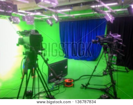Television digital green studio broadcast blurred image