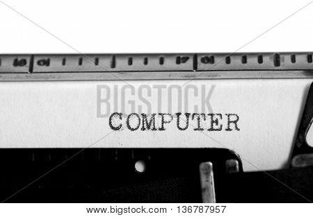 Typewriting on an old typewriter. Typing text: computer