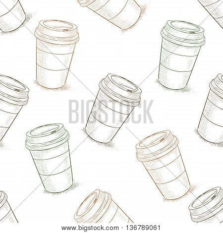 Seamless pattern scetch of coffee to go. Take away coffee cup. Vector illustration