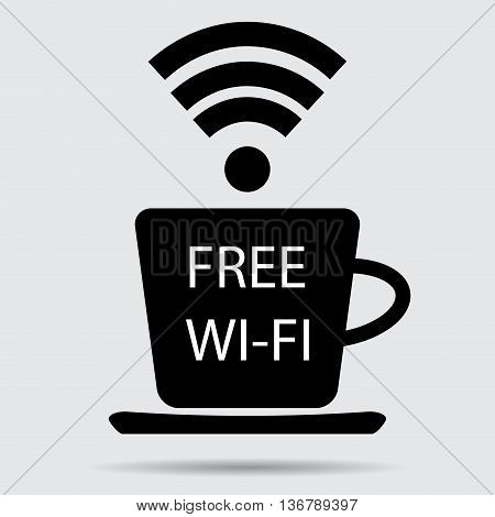 Free wifi vector. Cup of coffee and wifi icon free internet and wifi zone free wifi spot illustration