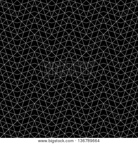 Seamless pattern. Abstract geometrical background. Original linear texture with repeating thin broken lines polygons on black difficult polygonal shapes. Vector element of graphical design