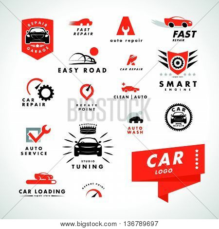 Vector flat simple minimalistic car logo. Auto icon isolated on white background. Repair service logo, garage logo, auto tuning studio insignia. Auto design. Auto illustration.