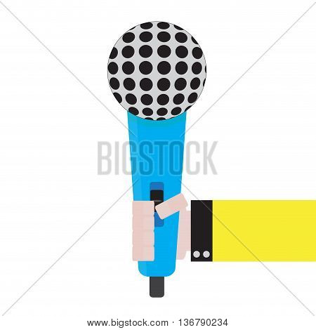 Microphone in hand reporter. Holding microphone and vintage microphone hand vector illustration