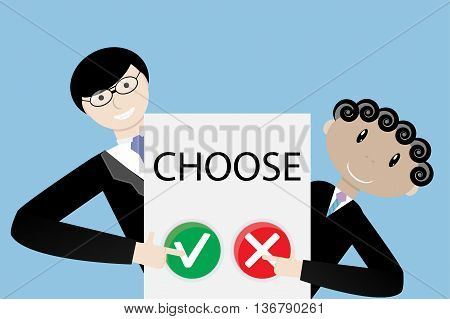 Make a choice concept. Positive choose or negative choose democracy right vector illustration