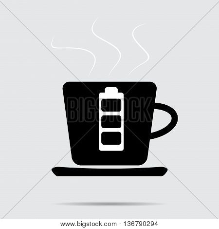 Cup of coffee. Battery charge. Drink caffeine and beverage charge energy. Vector illustration