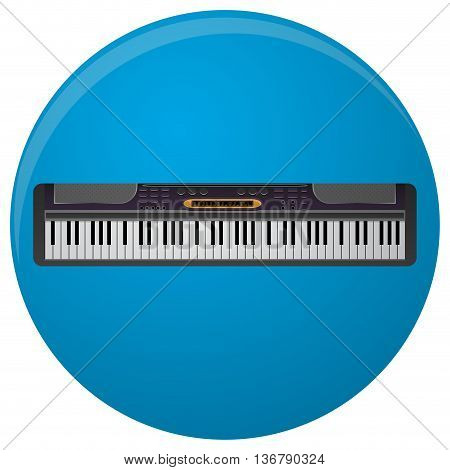 Piano synthesizer icon flat. Synth keyboard and music keyboard keytar music and grand piano musical instrument. Vector illustration