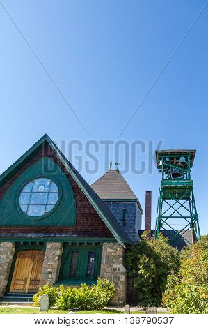 Small Chapel in Bar Harbor and Metal Bell Tower
