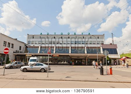 RIGA LATVIA - JUNE 29 2016: International Coach Terminal in Riga Latvia. Offers bus connections to all Latvias regions as well as longer distance journeys to anywhere in Europe