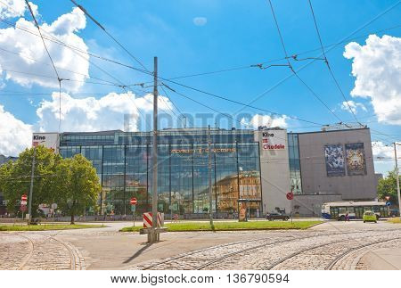 RIGA LATVIA - JUNE 29 2016: Stockman department store and Citadele Cinema (Forum Cinemas) on 13 January Street in Riga Latvia. Boasts the largest movie screen in North Europe (242 m2)