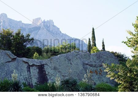 View of the Dolomite mountains and the arboretum near the Vorontsov Palace