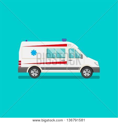 Icon of an ambulance car. Resuscitation vehicle. Car of an emergency quick help. A vector illustration in flat style