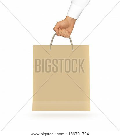 Blank yellow paper bag mock up holding in hand. Empty plastic package mockup hold in hands isolated on white. Consumer pack ready for logo design or identity presentation. Product packet handle.
