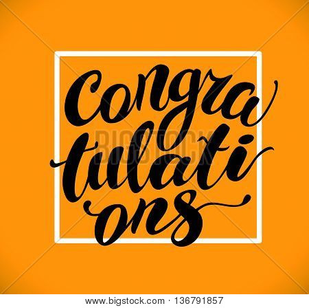 Vector hand written congratulations phrase isolated. Love card, congratulation, greeting. Poster, advertising, banner, placard design template. Hand written font, abc, script, lettering. White frame.
