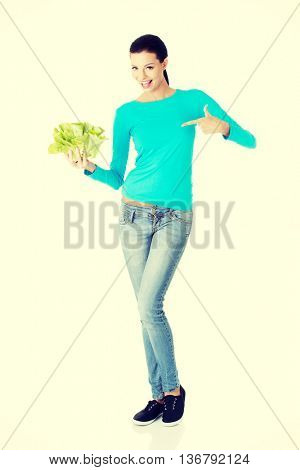 Attractive smiling woman with salat