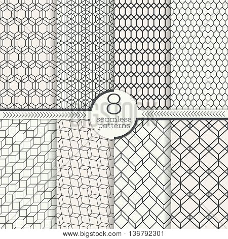 Set of eight seamless patterns. Modern stylish textures. Regularly repeating geometrical patterns with hexagonal geometric shapes. Vector element of graphic design