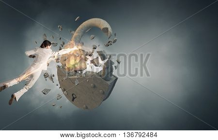 Breaking through security . Mixed media