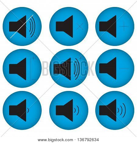 Controls sound set flat round. Sound icon and volume button. Vector illustration