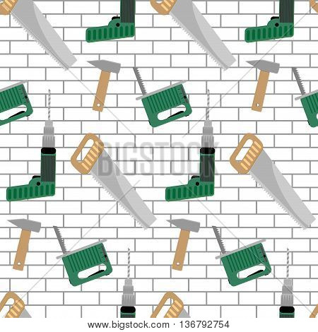 Seamless pattern with tools for construction. Power instruments drill and hammer vector illustration