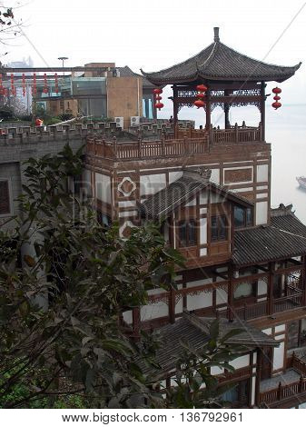 House in Chinese style with red paper lanterns