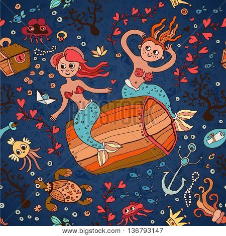 Sea pattern with fish and marine life