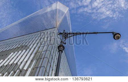 NEW YORK CITY, USA - SEPTEMBER 28, 2015: Street light at the Freedom Tower