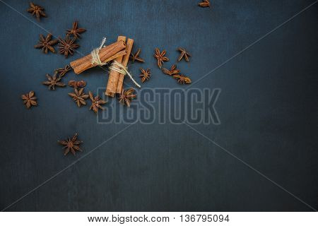 cinnamon and star anise top view flatly still life