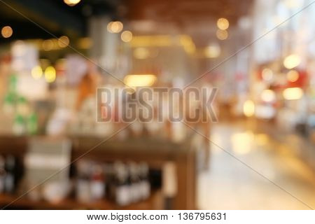Blured background of coffee shop in thailand