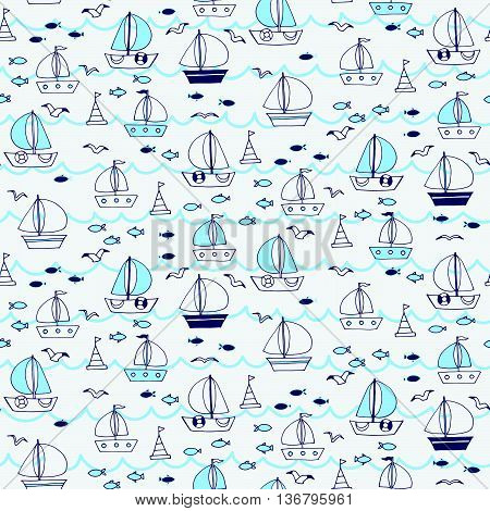 Seamless Pattern With Boats And Ships In The Sea