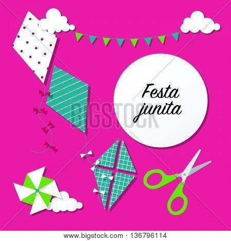 Festa Unina Celebration Card With Kites