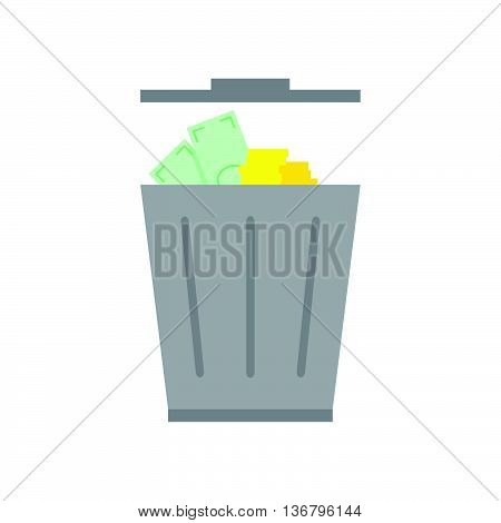 Illustration Of Discounting Money In A Trashcan