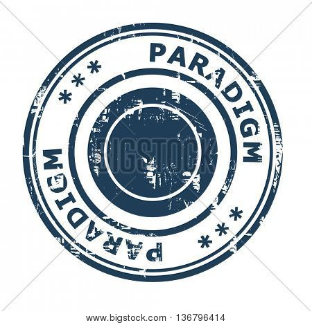 Paradigm business concept rubber stamp isolated on a white background.