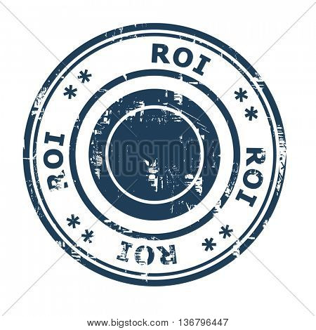 ROI business concept rubber stamp isolated on a white background.