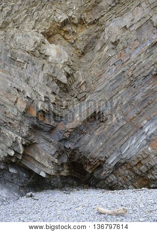 Folded Rock Strata & Cave Welcombe Mouth Beach Hartland Peninsula North Devon Coast