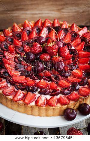 Summer Tart With Custard Cream And Fresh Berries