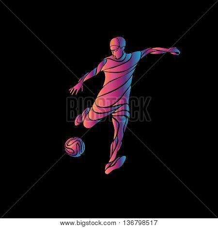 Football or Soccer player kicks the ball. The colorful neon vector illustration on black background.