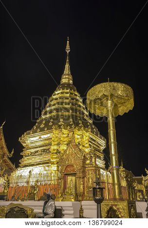 At night Wat Phra That Doi Suthep Chiang Mai's famous land mark Thailand.