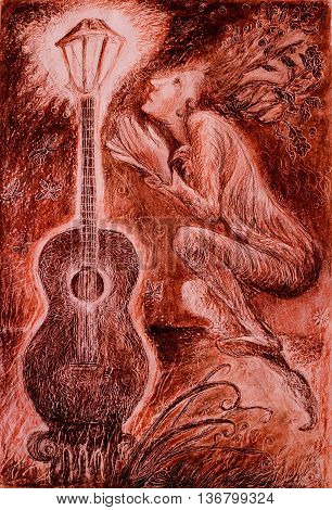 elven musician adoring a light of guitar, drawing.