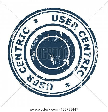 User centric business concept rubber stamp isolated on a white background.