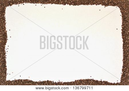 Frame From Dry Chia Seeds On White Background