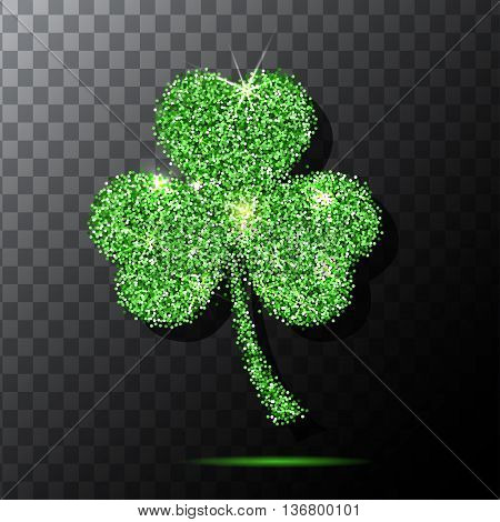 Glitter object. Clover for patrick s day design. Isolated glitter clover. Green texture background. Vector. Traditional irish clover. EPS