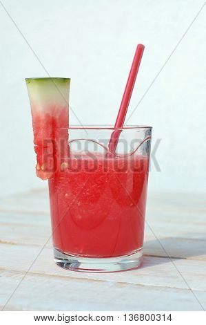 Healthy Fresh Smoothie Drink From Red Watermelon And Ice Drift