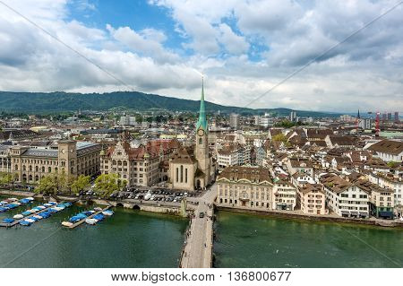 Aerial view of Zurich old town along Limmat river Zurich Switzerland.